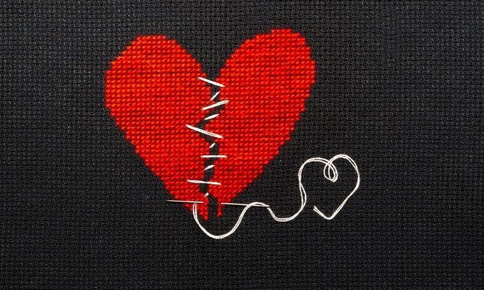 stitched together heart symbolizing self forgiveness
