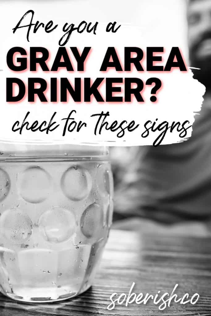 """glass of beer in black and white behind title """"Are you a gray area drinker?"""""""